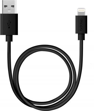 Кабель Deppa USB - 8-pin Lightning для Apple, 2 м., круглый, чёрный кабель для apple lightning mfi deppa 0 15м серый 72261