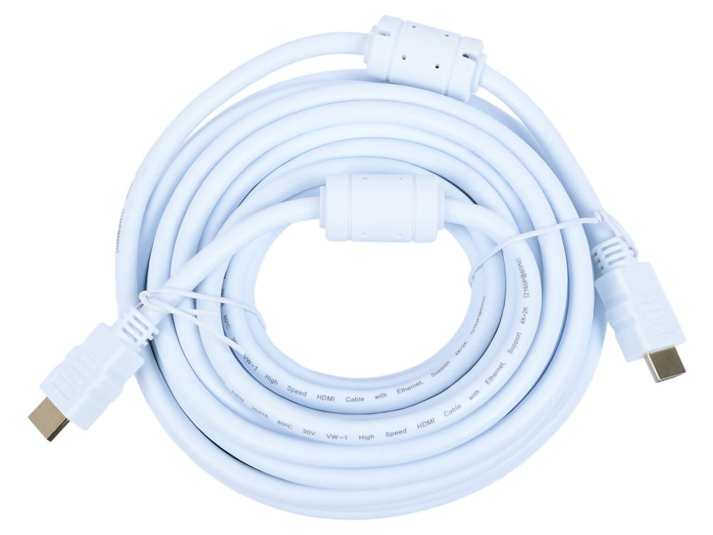 Фото - Кабель HDMI 19M/M ver 2.0, 10М, 2 фильтра, белый Aopen (ACG711DW-10M) кабель gembird кабель hdmi 10м cc hdmi4 10m