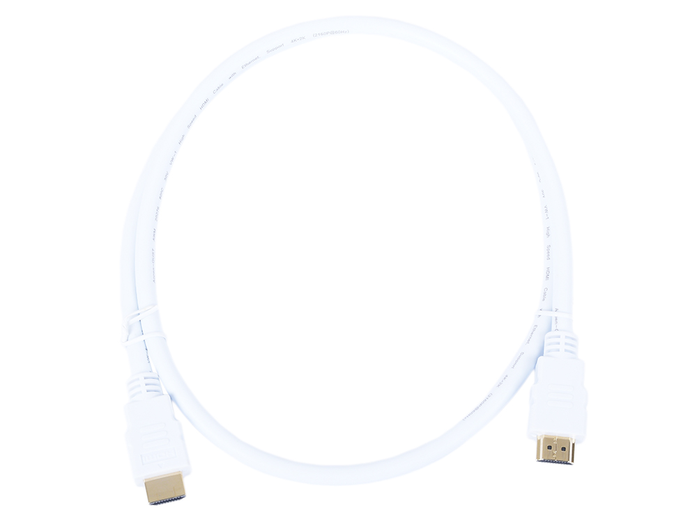 Кабель HDMI 19M/M ver 2.0, 1М, белый Aopen (ACG711W-1M) кабель hdmi bion bncc hdmi4l 1m