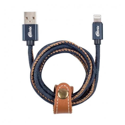 Кабель Ritmix RCC-427 Blue Jeans Lightning-USB, 1м, 2А, оплетка из джинсовой ткани кабель lightning 1м ritmix rcc 221 круглый
