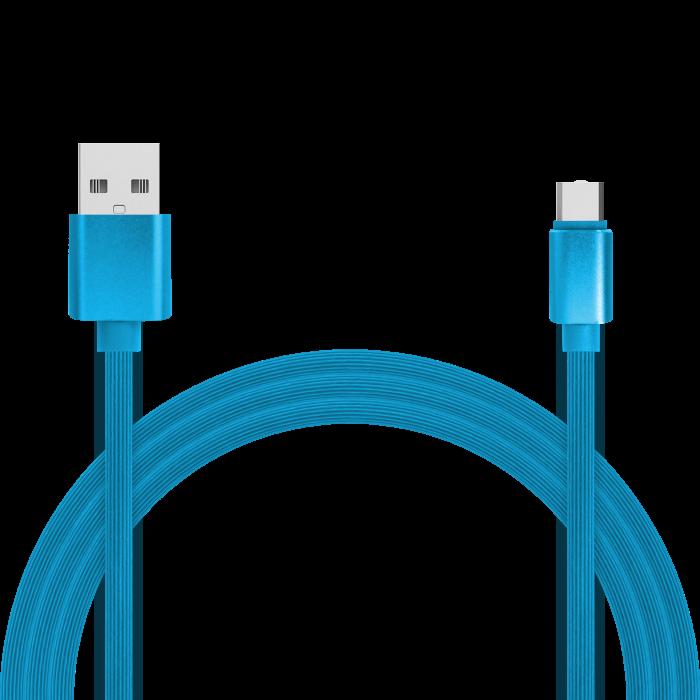 Кабель для зарядки и передачи данных Jet.A JA-DC34 1м синий (TPE, USB2.0/USB Type C, QC 3.0, 2A) кабель для зарядки и передачи данных crown micro usb microusb cmcu 3052m green