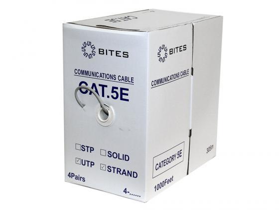 Кабель 5bites UT5725-305A, UTP, 4 пары, многожильный (stranded), кат. 5e, (7x0,20 mm), CCA, PVC, 305m кабель акустический в нарезку supra rondo bi wire 4 x 4 mm