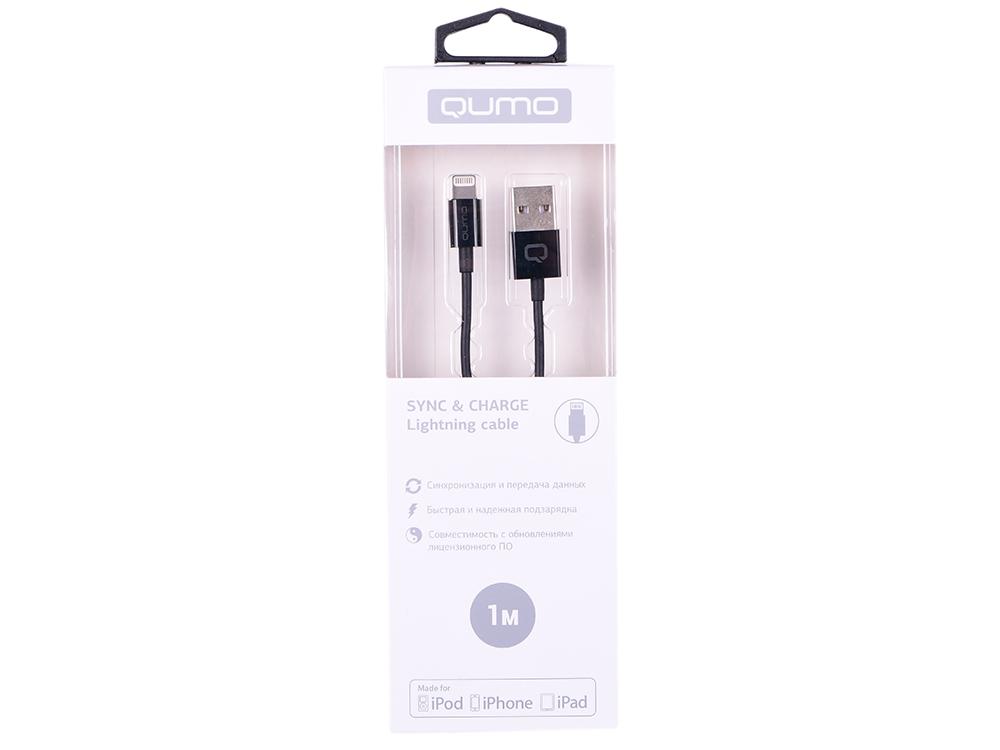Кабель Qumo, MFI С48, USB-Apple 8 pin, 1м, 5В, 2,4A, 12Вт, опл. PVC, кон. PVC, черный кабель qumo mfi с48 type с apple 8 pin 1м 5в 2 4a 12вт опл нейлон кон металл серебро
