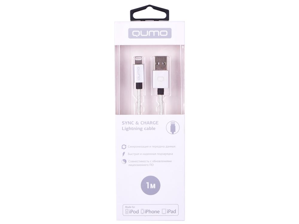 Кабель Qumo, MFI С48, USB-Apple 8 pin, 1м, 5В, 2,4A, 12Вт, опл. нейлон, кон металл, серебро кабель qumo mfi с48 type с apple 8 pin 1м 5в 2 4a 12вт опл нейлон кон металл серебро