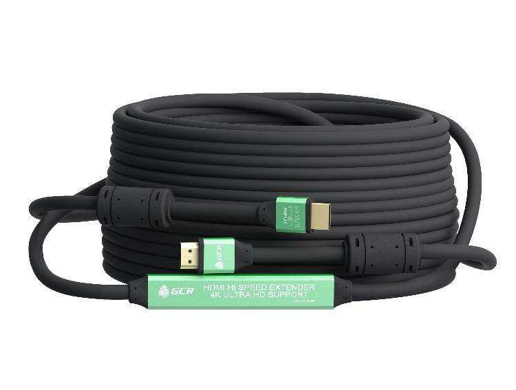 Фото - Кабель HDMI Greenconnect GCR-50751 30 м v2.0, c усилителем, черный адаптер переходник greenconnect apple mini displayport hdmi gcr 50930 0 2 м черный