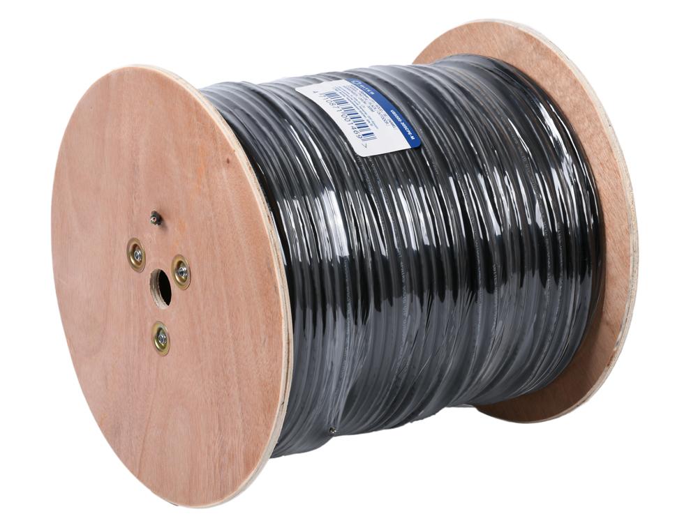 Фото - Кабель 5bites US5505-305CPE-M, UTP, 4 пары, одножильный (solid), кат. 5e, (0,50 mm), CU, PVC+PE, 305m, с тросом, для внешней прокладки, на деревянной катушке, кабель