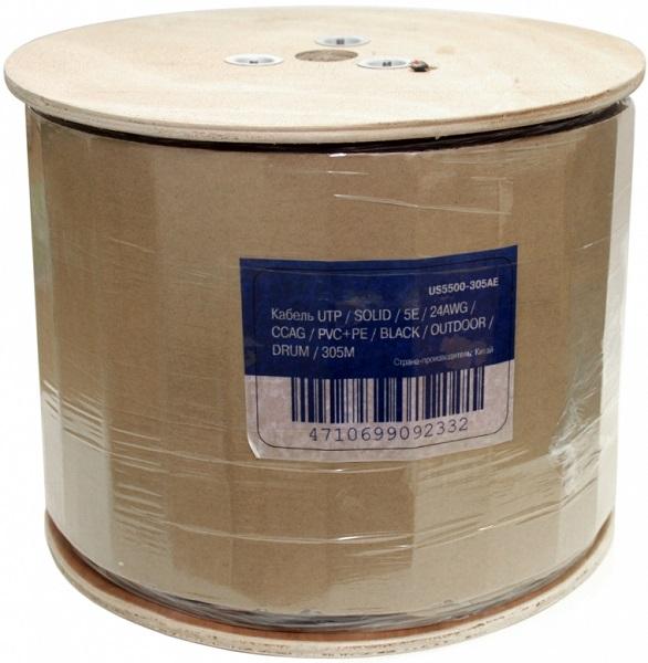 Кабель 5bites LIGHT US5500-305APE, UTP, 4 пары, одножильный (solid), кат. 5e, (0,50 mm), CCAG, 305m, для внешней прокладки, на деревянной катушке