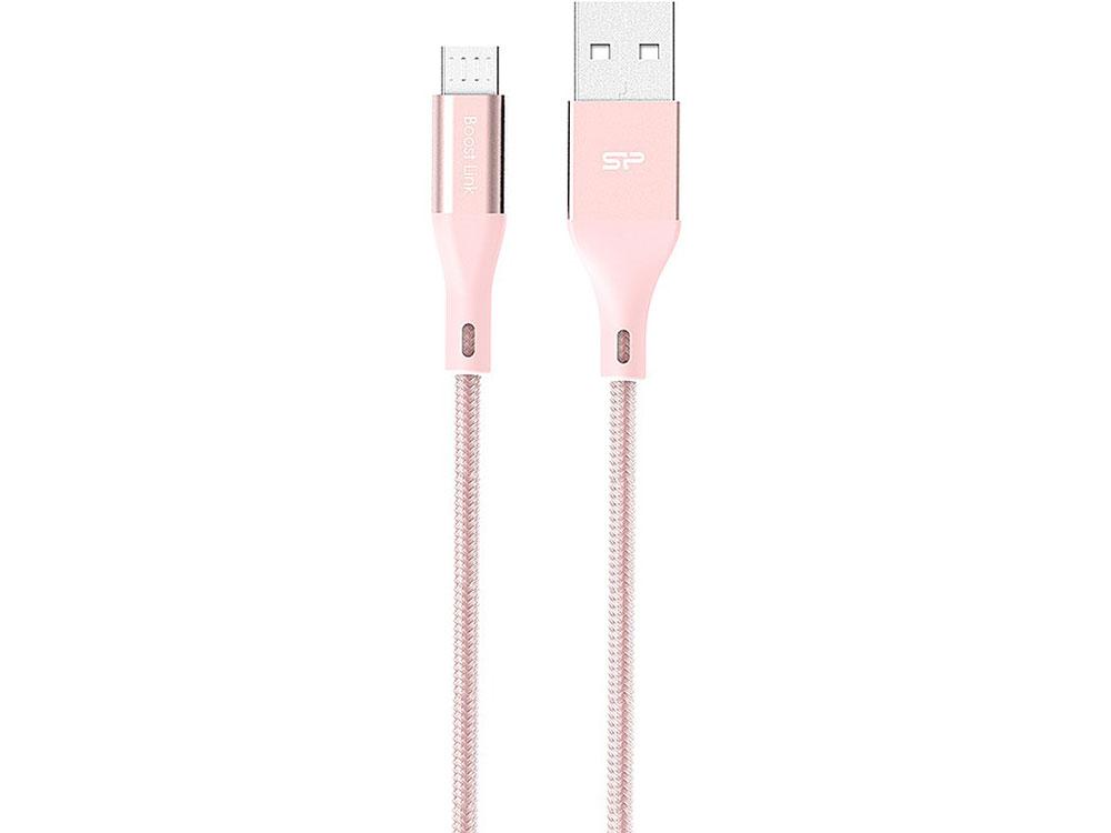 Фото - Кабель Silicon Power microUSB-USB для зарядки и синхронизации 1м, нейлон, Pink ошейник для собак hunter ecco s нейлон красный 30 45см