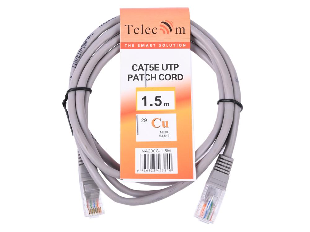 Патч-корд литой медный Telecom NA200-1.5M UTP кат.5е 1.5м серый патч корд atcom utp 2 m литой rj45 cat 5 серый