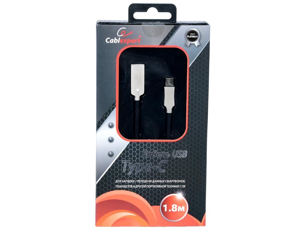 Кабель USB 2.0 Cablexpert, AM/Type-C, серия Platinum, длина 1.8м, черный, блистер кабель usb 3 0 cablexpert am type c серия platinum длина 1м титан блистер