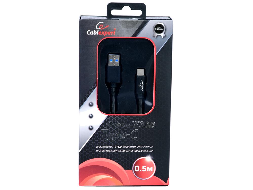 Кабель USB 3.0 Cablexpert, AM/Type-C, серия Platinum, длина 0.5м, черный, блистер кабель usb 3 0 cablexpert am type c серия platinum длина 1м титан блистер