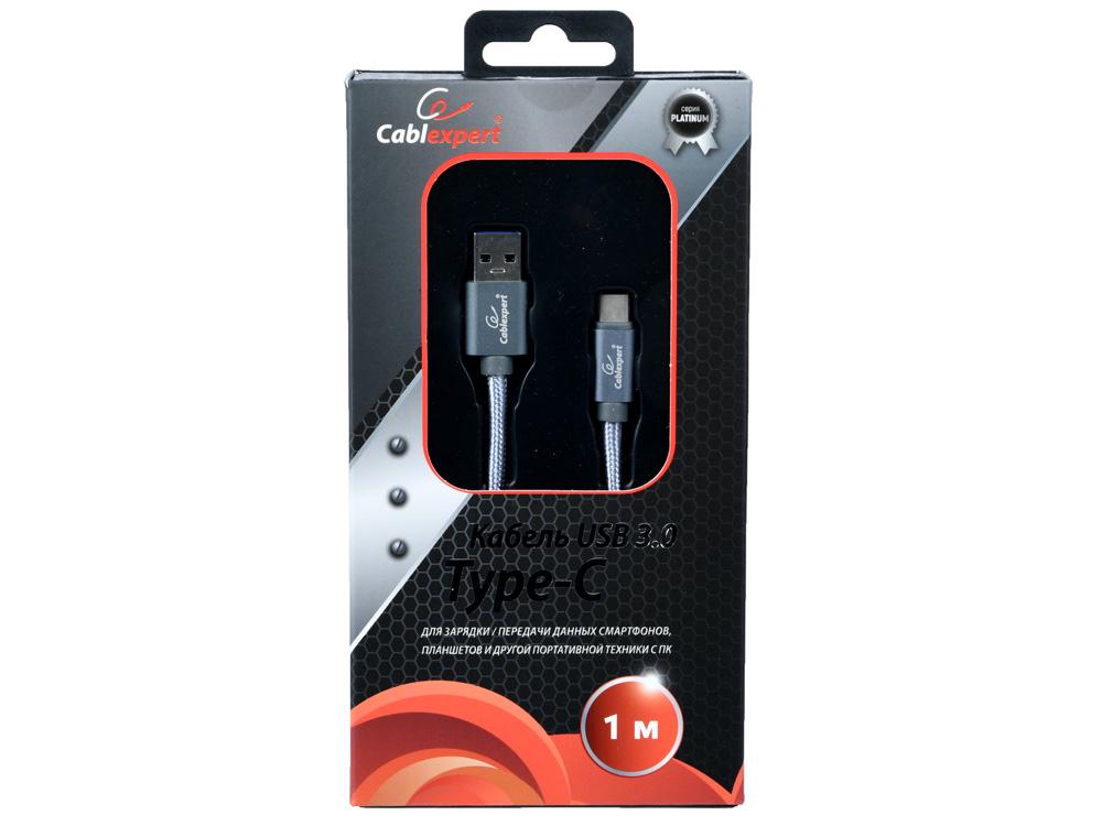 Фото - Кабель USB 3.0 Cablexpert, AM/Type-C, серия Platinum, длина 1м, титан, блистер кабель usb gembird cablexpert am samsung для samsung galaxy tab note 1м черный блист