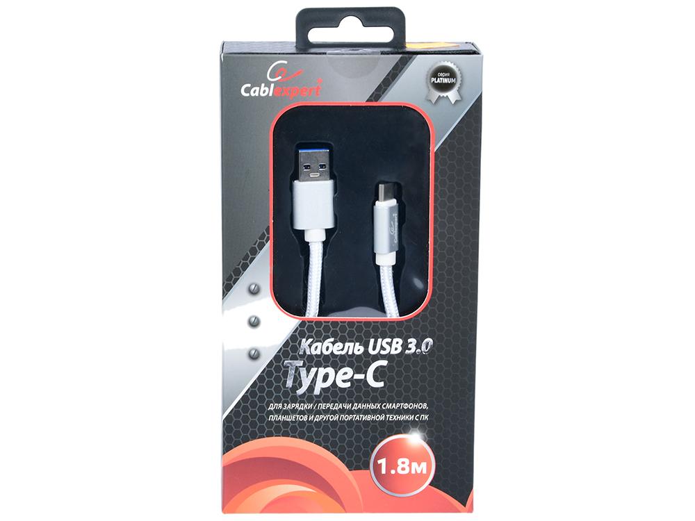 Кабель USB 3.0 Cablexpert, AM/Type-C, серия Platinum, длина 1.8м, серебро, блистер кабель usb 3 0 cablexpert am type c серия platinum длина 1м титан блистер