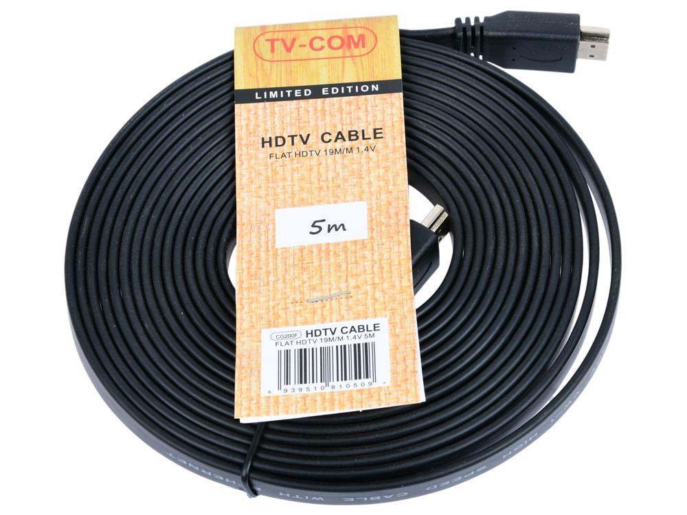 Фото - Кабель HDMI 19M/M 1.4V плоский 5 м TV-COM CG200F-5M аксессуар гарнизон hdmi m m v1 4 5m black gcc hdmi 5m