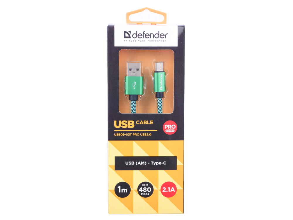 Кабель Defender USB09-03T PRO USB2.0 Зеленый, AM-Type-C, 1m, 2.1A кабель defender usb type c черный