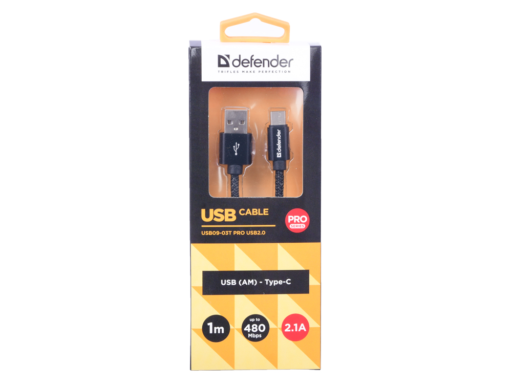 Кабель Defender USB09-03T PRO USB2.0 Черный, AM-Type-C, 1m, 2.1A кабель defender usb type c черный