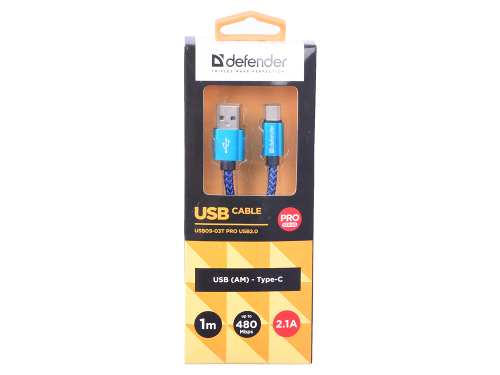 Кабель Defender USB09-03T PRO USB2.0 Синий, AM-Type-C, 1m, 2.1A