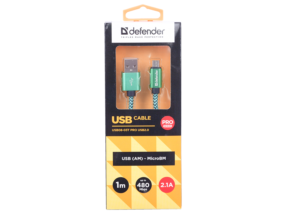 Кабель Defender USB08-03T PRO USB2.0 Зеленый, AM-MicroBM, 1m, 2.1A