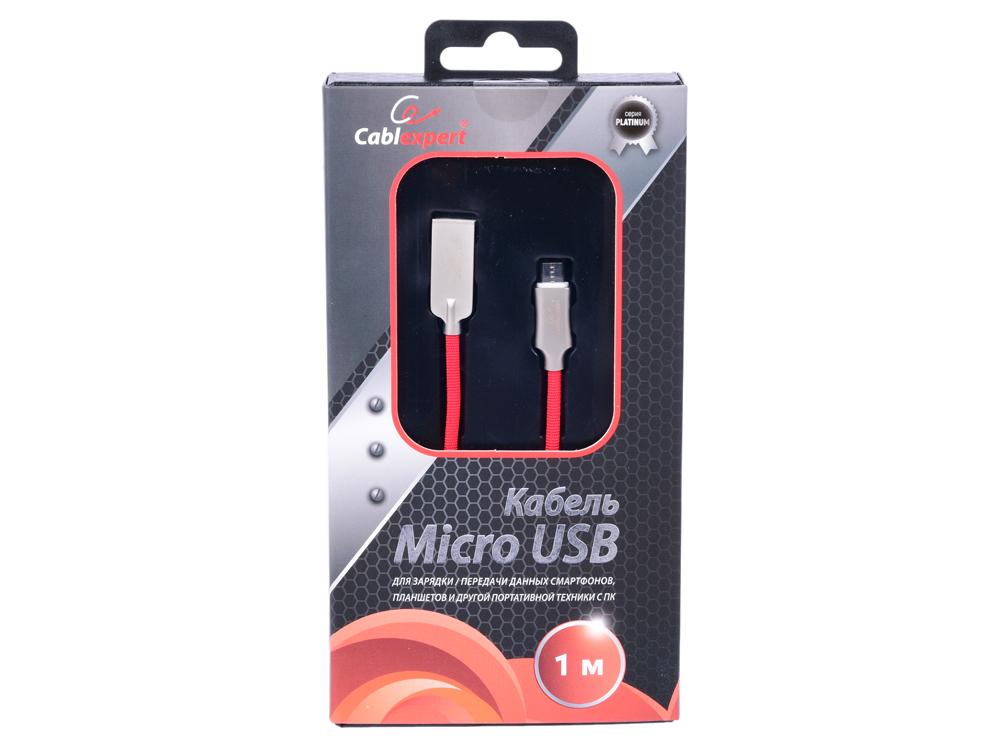 Фото - Cablexpert Кабель USB 2.0 CC-P-mUSB02R-1M AM/microB, серия Platinum, длина 1м, красный, блистер кабель