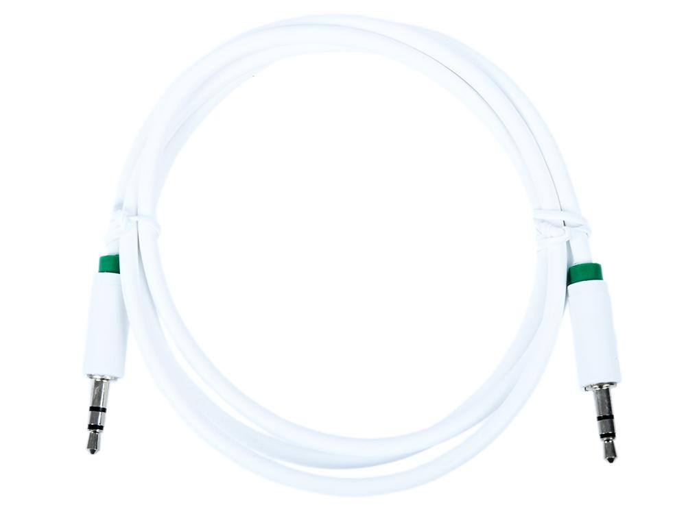 Фото - Кабель Greenconnect аудио 1.0m jack 3,5mm/jack 3,5mm белый, зеленая окантовка, ультрагибкий, 28 AWG, M/M, Premium GCR-AVC1662-1.0m, экран, стерео / GC кабель jack jack schulz кабель межблочный стерео jack стерео jack sto 3 m