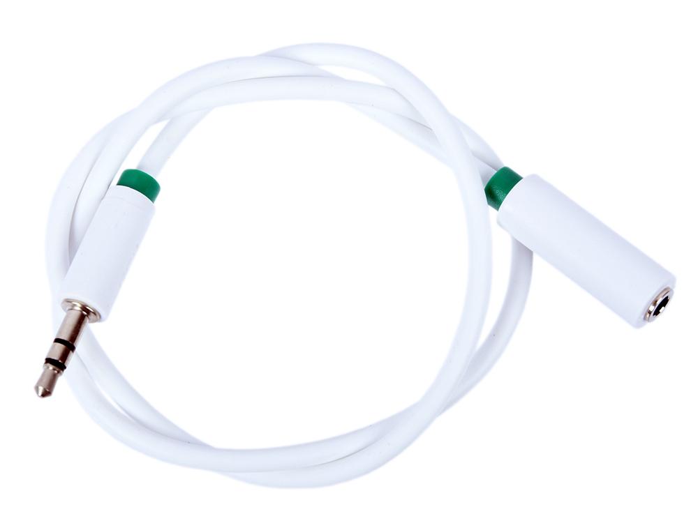Фото - Удлинитель Greenconnect аудио 0.5m jack 3,5mm/jack 3,5mm белый, зеленая окантовка, ультрагибкий, 28AWG, M/F, Premium GCR-STM1662-0.5m, экран, стерео удлинитель greenconnect aux jack 3 5mm gcr stm01 16 0 5 м черный