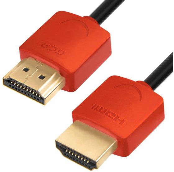 Фото - Кабель Greenconnect GCR-HM550-0.3m 0.3m HDMI версия 1.4, черный, красные коннекторы, Slim OD3.8mm, 32/32 AWG, позолоченные контакты, Ethernet 10.2 Гбит/с, 3D, 4K аксессуар mobiledata hdmi 4k v 2 0 плоский 1 8m hdmi 2 0 fn 1 8