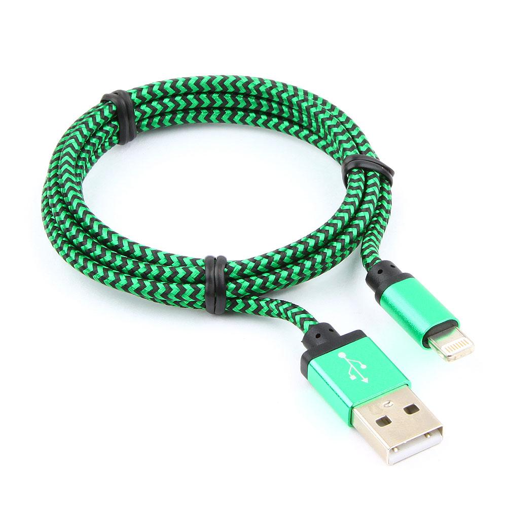 Кабель USB 2.0 Cablexpert CC-ApUSB2gn1m, AM/Lightning 8P, 1м, нейлоновая оплетка, алюминиевые разъемы, зеленый, пакет все цены