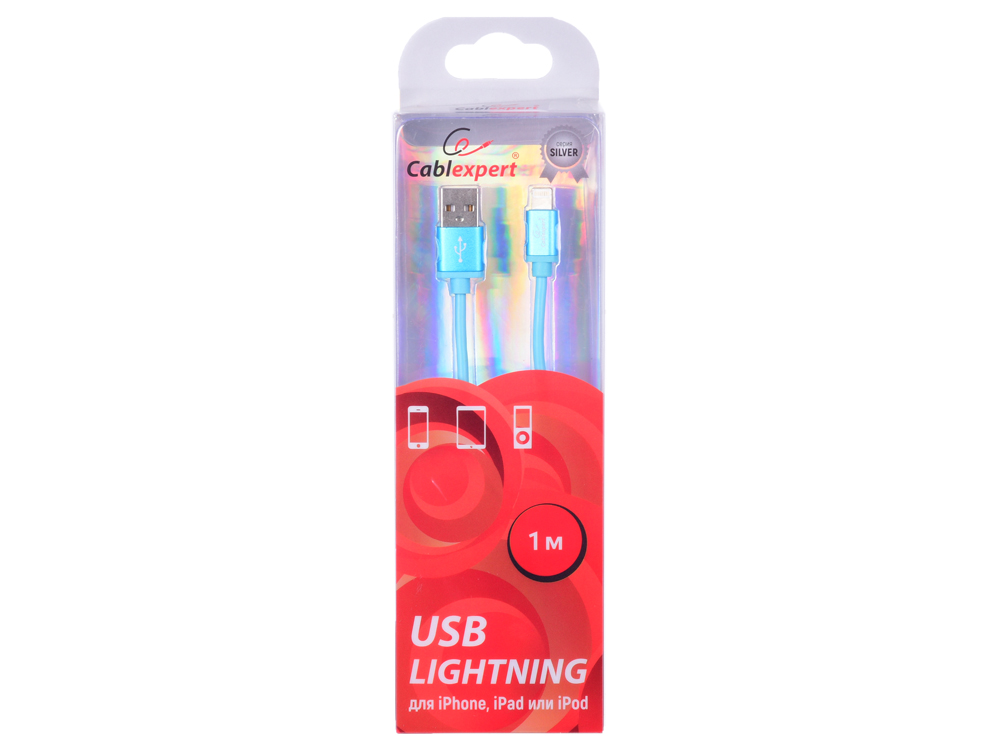 Фото - Кабель Cablexpert для Apple CC-S-APUSB01Bl-1M, AM/Lightning, серия Silver, длина 1м, синий, блистер кабель брелок lightning синий