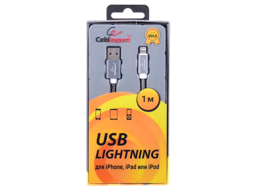 Кабель Cablexpert для Apple CC-G-APUSB02Gy-1M, AM/Lightning, серия Gold, длина 1м, титан, блистер кабель a data lightning usb для iphone ipad ipod 1м золотистый amfial 100cmk cgd
