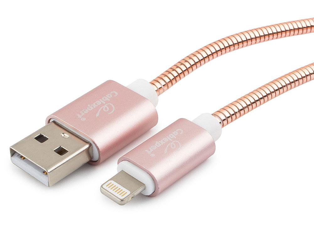 Кабель Cablexpert для Apple CC-G-APUSB02Cu-1M, AM/Lightning, серия Gold, длина 1м, золото, блистер кабель usb 2 0 microusb 1м cablexpert gold круглый золотистый cc g musb02cu 1m
