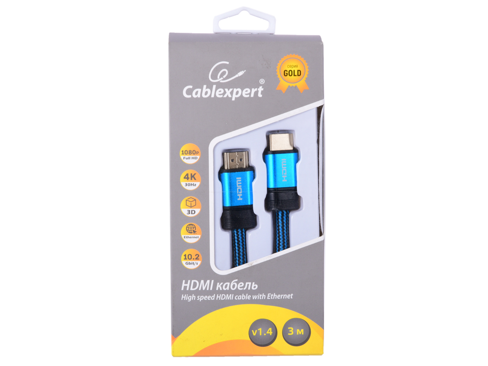 лучшая цена Кабель HDMI Cablexpert, серия Gold, 3 м, v1.4, M/M, синий, позол.разъемы, алюминиевый корпус, нейлоновая оплетка, коробка