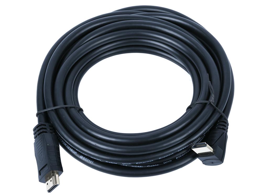 Фото - Кабель HDMI VCOM CG523-5M 5м, v2.0 Г-образный коннектор кабель
