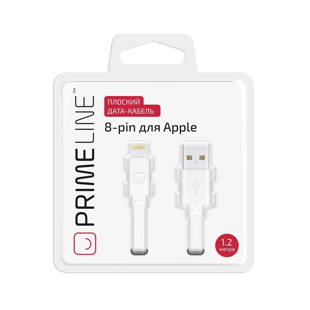 Фото - Кабель Prime Line 7201 8-pin для Apple, 1,2 м, белый кеды мужские vans ua sk8 mid цвет белый va3wm3vp3 размер 9 5 43