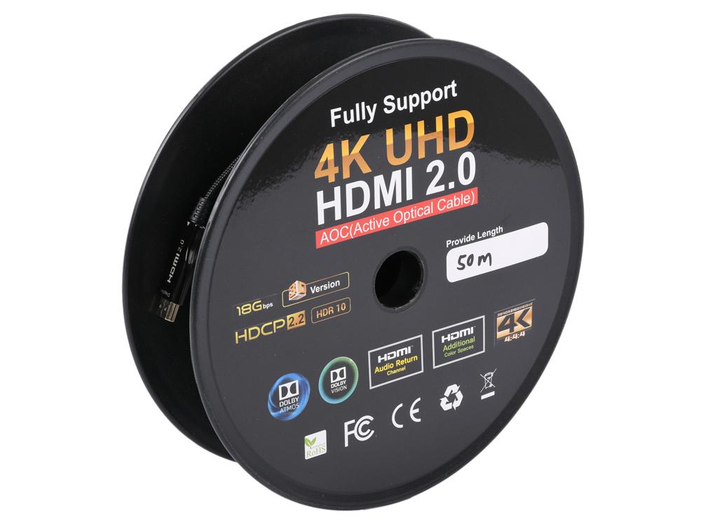 Кабель HDMI Gembird CCBP-HDMI-AOC-50M v2.0, 50 м, черный позолоченные разъемы, нейлоновая оплетка кабель tv sat 50m cavel 100 м