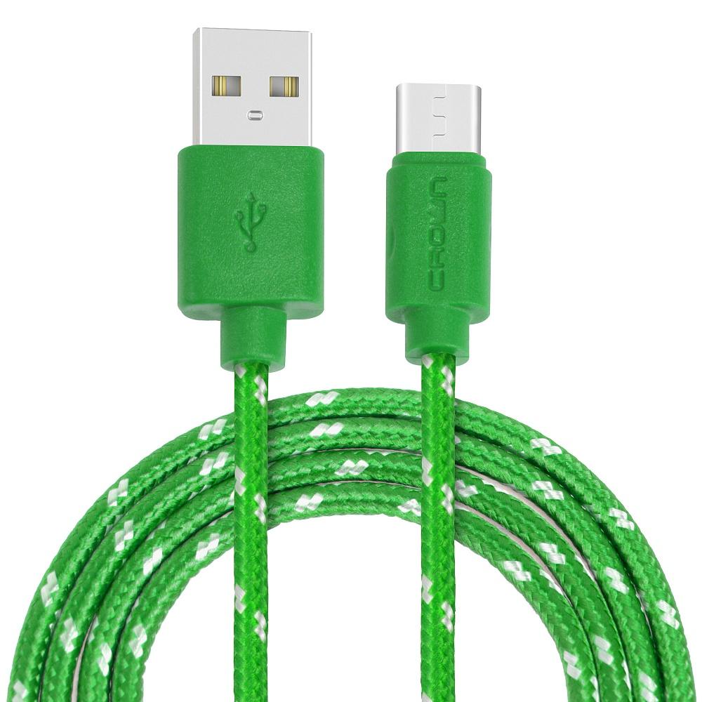 Кабель Crown USB - USB Type-C CMCU-3042C green; круглый; в тканевой оплётке; коннекторы ПВХ; ток 2А;