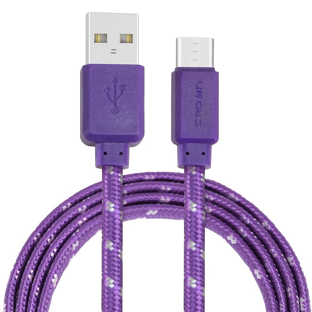 Кабель Crown USB - USB Type-C CMCU-3052C violet; плоский; в тканевой оплётке; коннекторы ПВХ; ток 2А