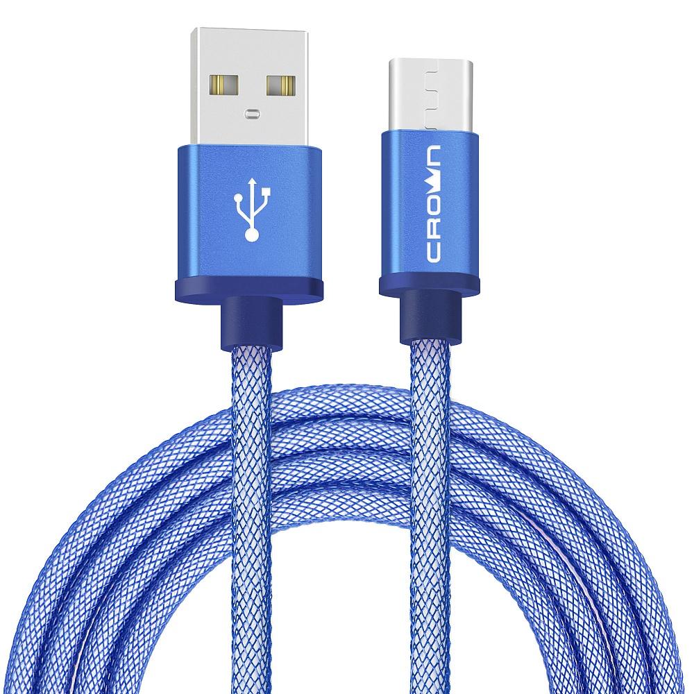 Кабель Crown USB - USB Type-C CMCU-3072C blue; круглый; в прочной нейлоновой оплётке; коннекторы Мет