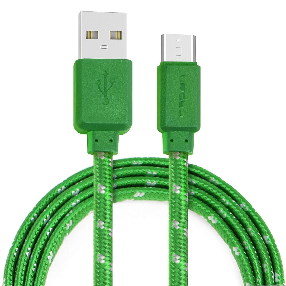 Кабель Crown USB - microUSB CMCU-3052M green; плоский; в тканевой оплётке; коннекторы ПВХ; ток 2А; 1