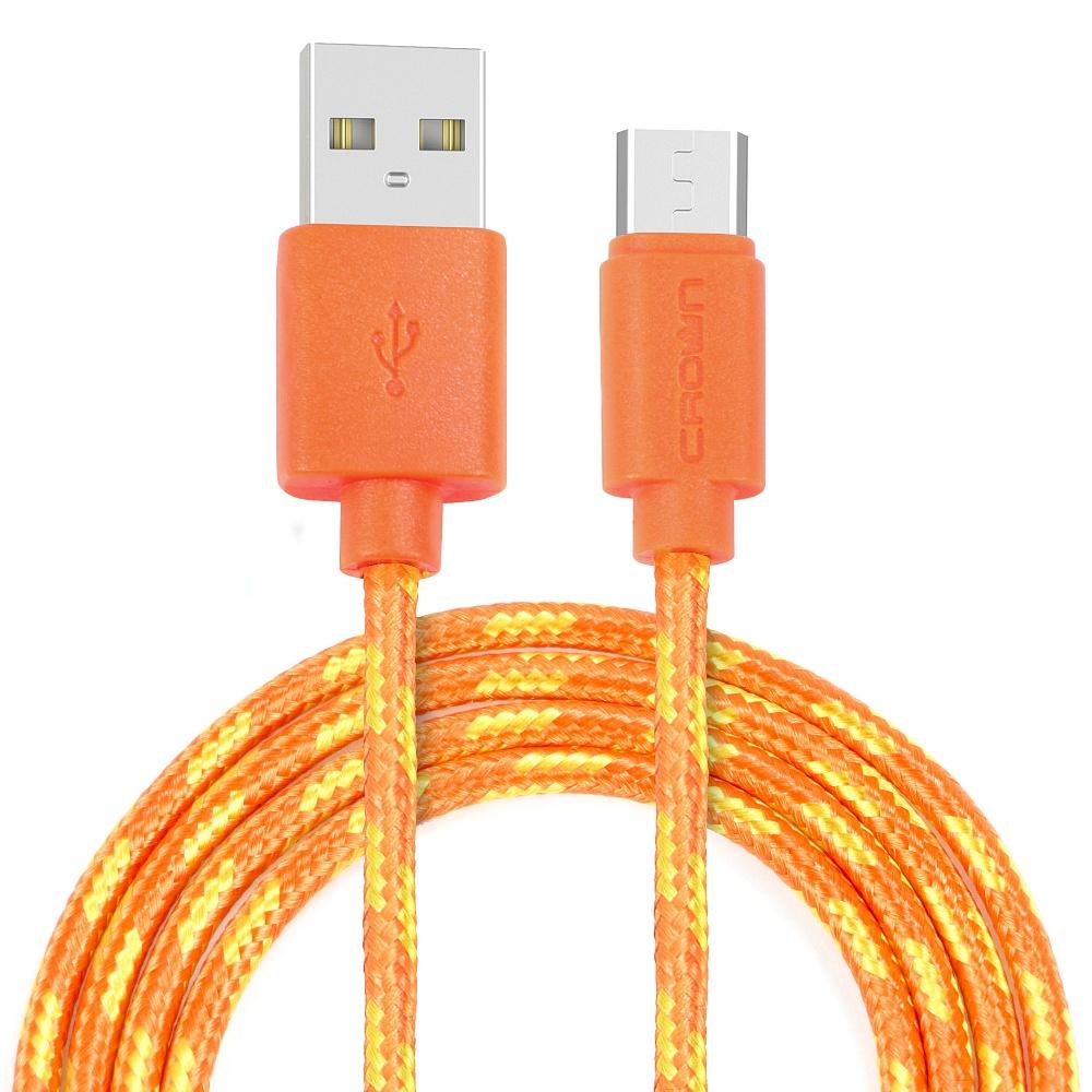 Кабель Crown USB - microUSB CMCU-3042M orange; круглый; в тканевой оплётке; коннекторы ПВХ; ток 2А;