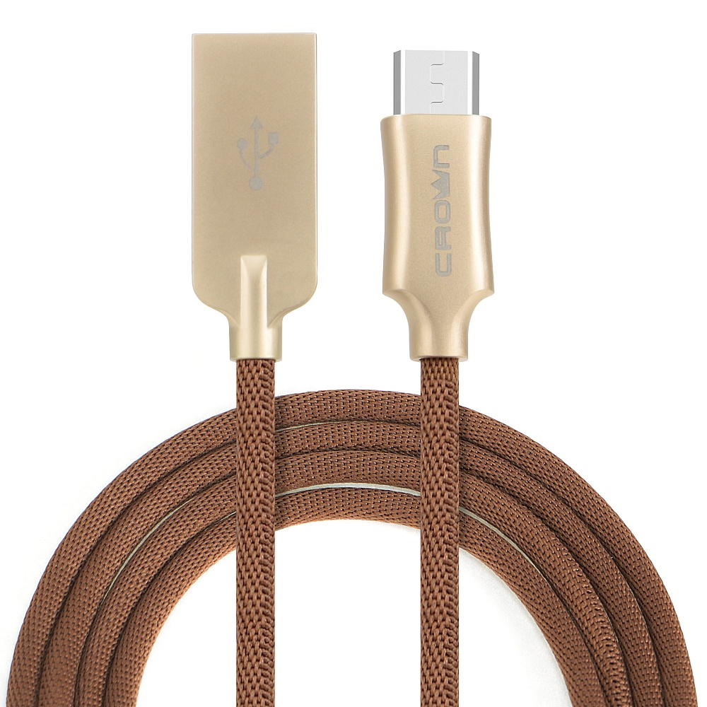 Кабель Crown USB - microUSB CMCU-3132M brown; круглый; в тканевой оплётке; коннекторы Алюминий; ток