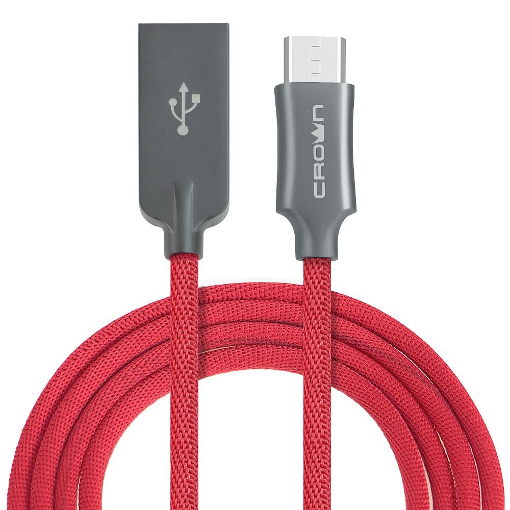 Кабель Crown USB - microUSB CMCU-3132M red; круглый; в тканевой оплётке; коннекторы Алюминий; ток 2А