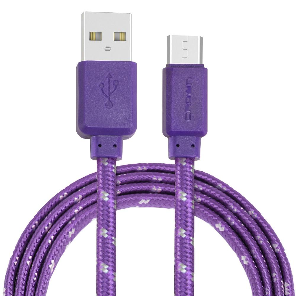 Кабель Crown USB - microUSB CMCU-3052M violet; плоский; в тканевой оплётке; коннекторы ПВХ; ток 2А;