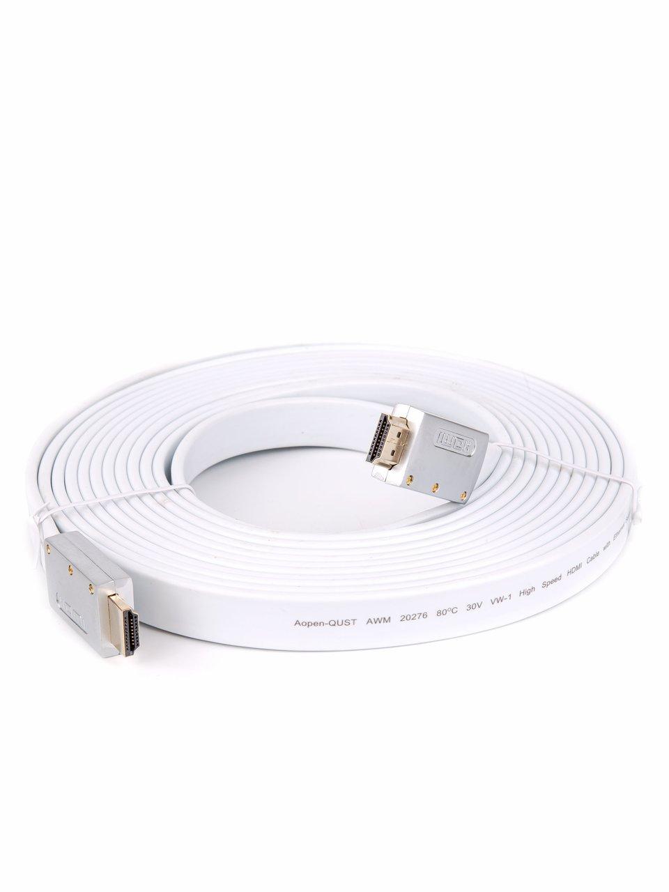 Фото - Кабель HDMI AOpen ACG568F-S-5M, ver 2.0, 5 м, серебряно-белый Flat кеды мужские vans ua sk8 mid цвет белый va3wm3vp3 размер 9 5 43