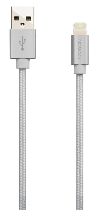 Кабель CANYON Charge & Sync MFI braided cable with metalic shell, USB to lightning, certified by Apple, cable length 1m, OD2.8mm, Pearl White power sync usb 3 0 am am cable 3m length