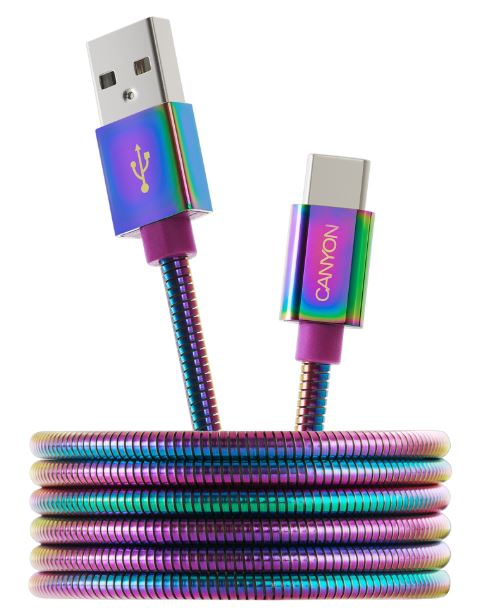 Фото - Кабель CANYON Type C USB 2.0 standard cable, Power output 5V/9V 2A, OD 3.8mm, metal shell, cable length 1.2m, Rainbow, 14*6*1000mm, 0.04kg настенный светильник vitaluce v6324 2a