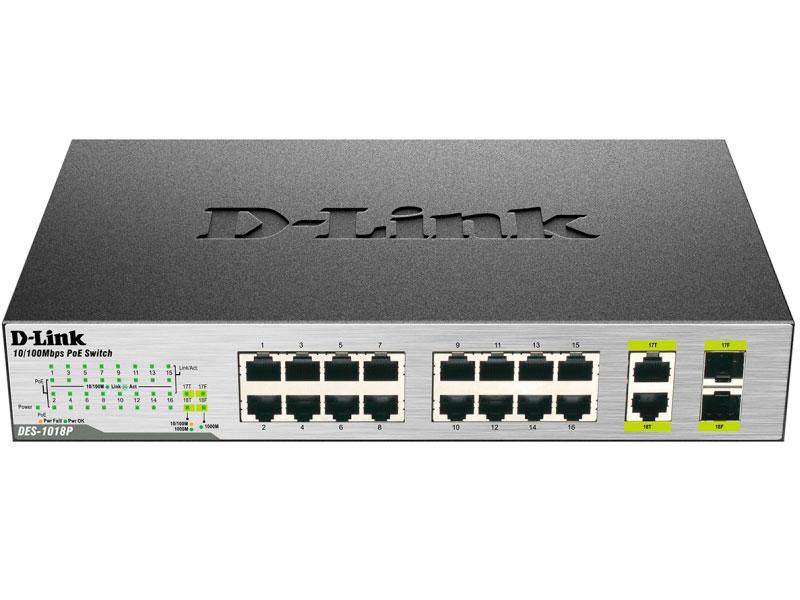 Коммутатор D-Link DES-1018P/A1A Неуправляемый коммутатор с 16 портами 10/100BASE-TX (8 портов с поддержкой PoE) и 2 комбо-портами 10/100/1000BASE-T/SF коммутатор d link des 1018mp a1a неуправляемый 16 портов 10 100mbps 2хcombo poe