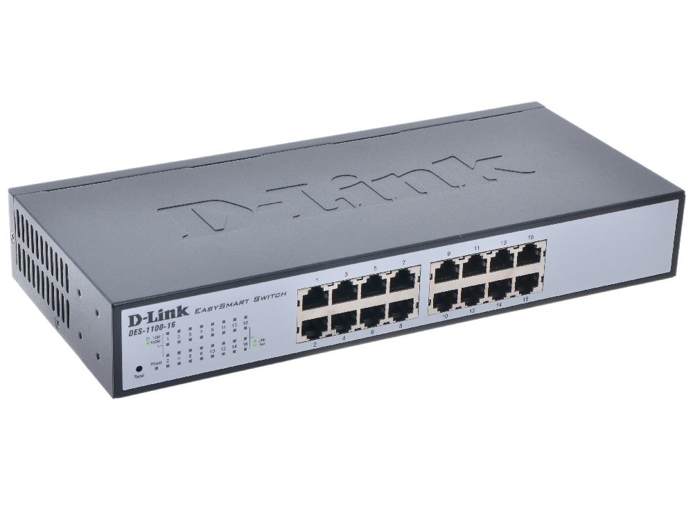 Коммутатор D-Link DES-1100-16/A2A Настраиваемый компактный коммутатор EasySmart с 16 портами 10/100Base-TX коммутатор d link dgs 1100 05 a1a настраиваемый компактный коммутатор easysmart с 5 портами 10base t 100base tx 1000base t
