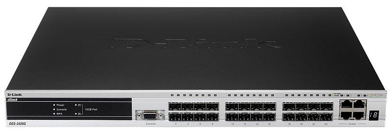 Коммутатор D-Link DGS-3420-26SC/B1A Управляемый стекируемый коммутатор 3 уровня с 20 портами 100/1000Base-X SFP, 4 комбо-портами 100/1000Base-T/SFP и коммутатор d link dgs 1100 06 me a1b управляемый коммутатор 2 уровня с 5 портами 10 100 1000base t и 1 портом 100 1000base x sfp