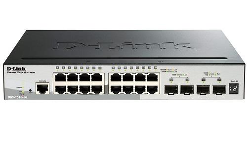Коммутатор D-Link DGS-1510-20/A1A Стекируемый коммутатор SmartPro с 16 портами 10/100/1000Base-T, 2 портами 1000Base-X SFP и 2 портами 10GBase-X SFP+