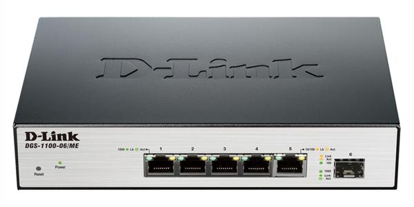 Коммутатор D-Link DGS-1100-06/ME/A1B Управляемый коммутатор 2 уровня с 5 портами 10/100/1000Base-T и 1 портом 100/1000Base-X SFP